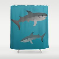 sharks Shower Curtains featuring Sharks by Bwiselizzy