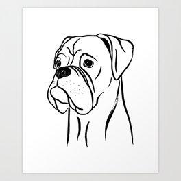 Boxer (Black and White) Art Print