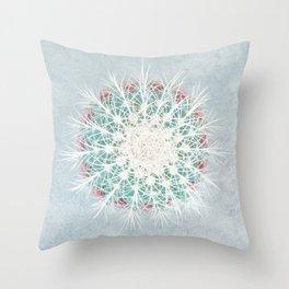 Cactus mandala - aqua mist concrete Throw Pillow