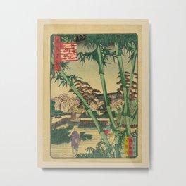 Nansuitei Yoshiyuki - 100 Views of Naniwa: Evening View of Kakuman-ji Temple (1860s) Metal Print