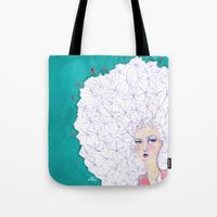 jane davenport Tote Bags featuring Puffball by Jane Davenport by Jane Davenport