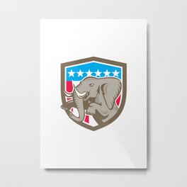 Elephant Prancing Stars Shield Retro Metal Print