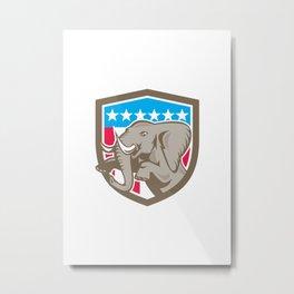 Elephant Prancing Stars Shield Retro Metal Print