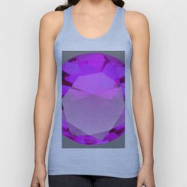 Decorative PURPLE FEBRUARY AMETHYST GEMSTONE  ON GREY Unisex Tank Top