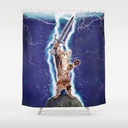 Lightning Cat Shower Curtain