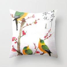 green bird chatting Throw Pillow