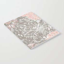 Floral Pattern Dahlias, Blush Pink, Gray, White Notebook