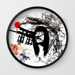 Japanese Geisha Warrior Wall Clock