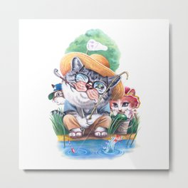 A cat family on the summer holiday Metal Print