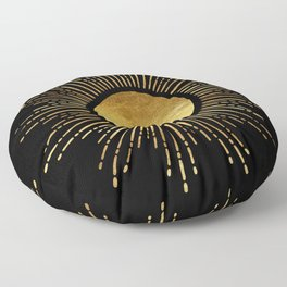 Golden Sunburst Starburst Noir Floor Pillow