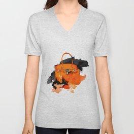 Orange  Bag -  Fashion Illustration - Handbag - Fashion brand  Unisex V-Neck