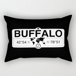 Buffalo New York GPS Coordinates Map Artwork with Compass Rectangular Pillow