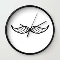 moustache Wall Clocks featuring Moustache by Oh Dulce