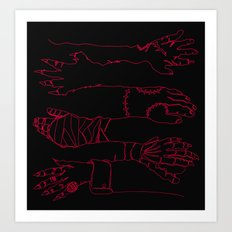 Classic Horror Hands (Red Line on Black) Art Print