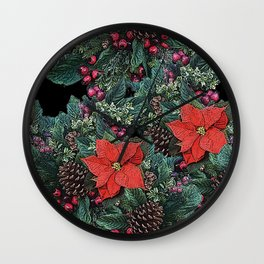 Christmas Floral pattern Wall Clock