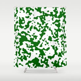 Spots - White and Dark Green Shower Curtain