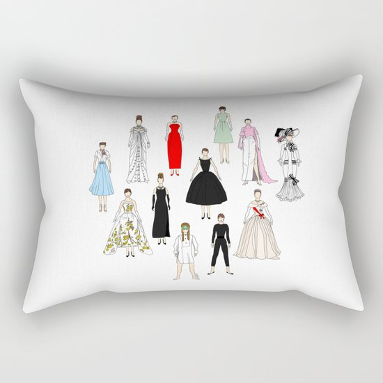 Audrey Fashion Whimsical Layout Rectangular Pillow