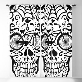 Vintage Mexican Skull with Bicycle - black and white Blackout Curtain