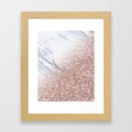 Blush Pink Sparkles on White and Gray Marble V Framed Art Print
