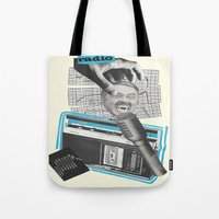 radio Tote Bags featuring Radio by collageriittard