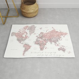 We travel not to escape life, dusty pink and grey watercolor world map Rug