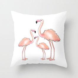 Pink Flamingo Trio Throw Pillow