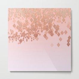 Light Salmon Pink Gradient Faux Glitter Diamonds Metal Print