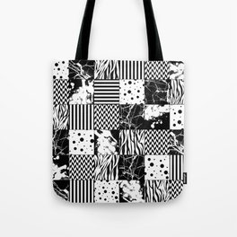 Eclectic Black and White Squares Tote Bag