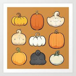 Pumpkins and Pug Butts Art Print