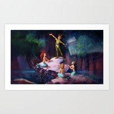 The Mermaid Lagoon-Peter Pan Art Print