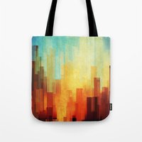 glitch Tote Bags featuring Urban sunset by SensualPatterns