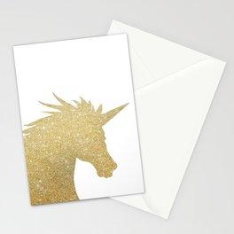 Gold Glitter Unicorn Stationery Cards