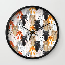 Friendly Foxes Wall Clock