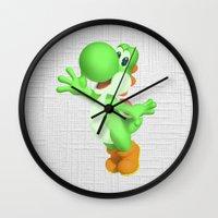 yoshi Wall Clocks featuring Yoshi by Jessica Wray