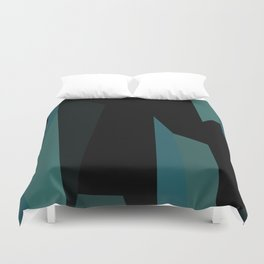 teal and black abstract Duvet Cover