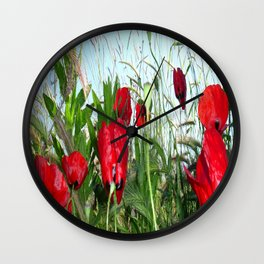 Landscape Close Up Poppies Against Morning Sky Wall Clock