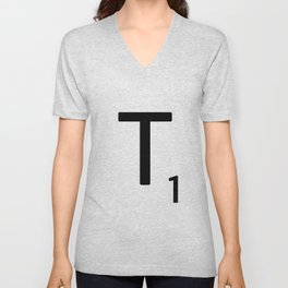 Letter T - Custom Scrabble Letter Tile Art - Scrabble T Initial Unisex V-Neck