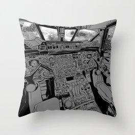SpaceJet (B/W) Throw Pillow