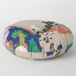 12,000pixel-500dpi - Ito Jakuchu - Chrysanthemum and Flowing water - Digital Remastered Edition Floor Pillow