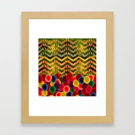 Chevron And Dots Framed Art Print