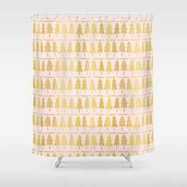 Luxe Rose Gold Christmas Tree Pattern, Seamless Vector Background Shower Curtain