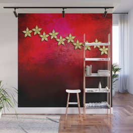 Spectacular gold flowers in red and black grunge texture Wall Mural