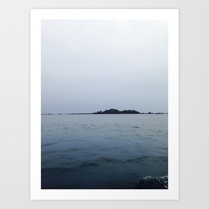 Lonely island in cloudy Brittany Art Print