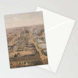 Vintage Paris & The Louvre Palace Map (1879) Stationery Cards