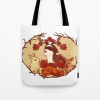 fawn Tote Bags featuring fawn by chazstity