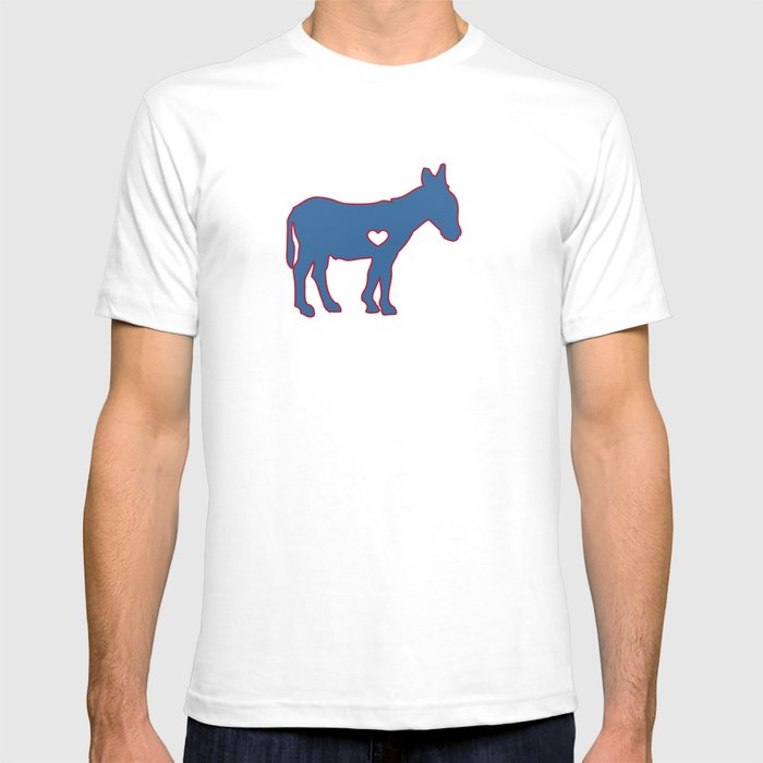 8b92a20ca3 I Love Donkey Rider Jackass Mule Funny Democrat Jockey Blue Red Clean T- shirt