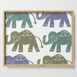Block Print Elephants Serving Tray