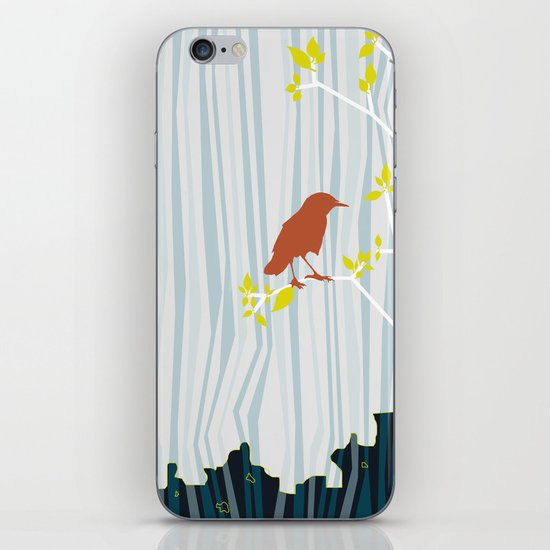 bird in birch iPhone Skin