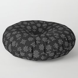 Black and White Floral Pattern Floor Pillow