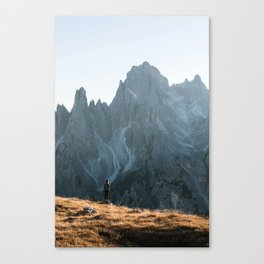 Dolomites mountain range in italy with hiker sunset - Landscape Photography Canvas Print